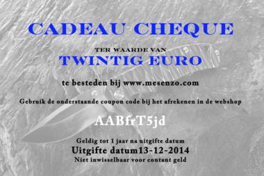 Cadeau Cheque 20 euro