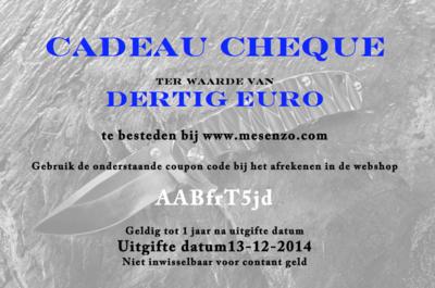 Cadeau Cheque 30 euro