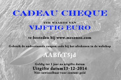 Cadeau Cheque 50 euro
