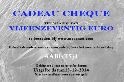Cadeau Cheque 75 euro